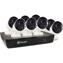 Swann 8-Channel 4K UHD NVR with 2TB HDD & 8 5MP Outdoor Night Vision Bullet Cameras