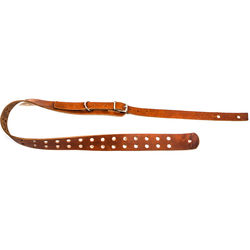 """Funk Plus Double Hole Genuine Premium Leather Guitar Strap with Buckle (42 to 52"""", Dark Tan)"""