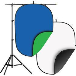 Impact Collapsible Background Kit - 5 x 7' (Chroma Blue/Chroma Green, Black/White)