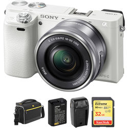 Sony Alpha a6000 Mirrorless Digital Camera with 16-50mm Lens and Accessory Kit (White)