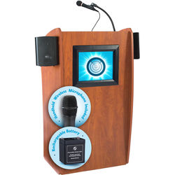 Oklahoma Sound The Vision Lectern with Sound, Screen, Rechargeable Battery & Handheld Wireless Mic (Cherry)