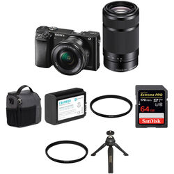 Sony Alpha a6000 Mirrorless Digital Camera with 16-50mm and 55-210mm Lenses with Free Accessories Kit (Black)