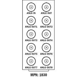 Cobalt Analog Video DA Standard-Width Rear Module for 20-Slot Frame (1 Input, 8 Outputs & 1 Loop Output)