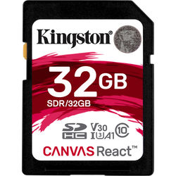 Kingston 32GB Canvas React UHS-I SDHC Memory Card