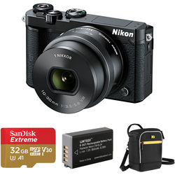 Nikon 1 J5 Mirrorless Digital Camera with 10-30mm Lens and Accessories Kit (Black