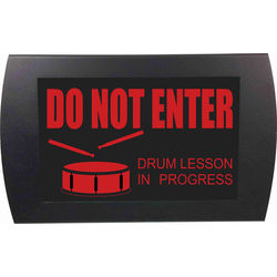 American Recorder DO NOT ENTER DRUM LESSON IN PROGRESS Indicator Sign with LEDs (Red)