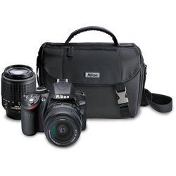 Nikon D3200 DSLR Camera with 18-55mm and 55-200mm Lenses (Black)