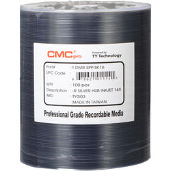 CMC Pro 4.7GB DVD-R 16x Silver Inkjet Hub Printable Discs (100-Pack, Tape Wrap)