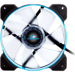 "Kingwin PWM Long-Life Bearing Case Fan with Blue LED for XF Mobile Rack Series (4.7 x 4.7"", Blue & Black, White Blades)"