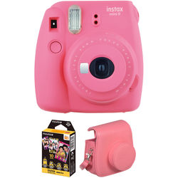 Fujifilm instax mini 9 Instant Film Camera with Instant Film and Case Kit (Flamingo Pink)