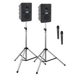 Anchor Audio GG-DP2-AIR-HH Go Getter Portable Sound System Deluxe AIR Package 2 with Two Wireless Handheld Microphones and Wireless Companion Speaker & Speaker Stands (1.9 GHz)