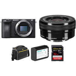 Sony Alpha a6500 Mirrorless Digital Camera with 16-50mm Lens and Free Accessory Kit