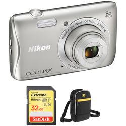 Nikon COOLPIX S3700 Digital Camera Basic Kit (Silver)