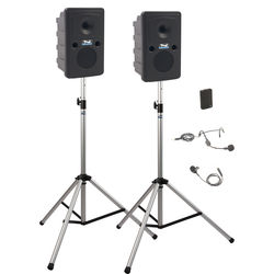 Anchor Audio GG-DP1-B Go Getter Portable Sound System Deluxe Package 1 with One Wireless Bodypack Transmitter and Unpowered Companion Speaker & Speaker Stands (1 x Lavalier Mic, 1 x Headset Mic, 1.9 GHz)