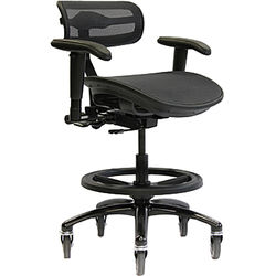 ErgoLab Stealth Pro Chair for Audio & Lighting Engineer (Black, Large Seat)