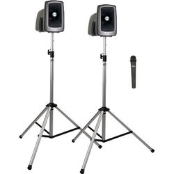 Anchor Audio MEGA-DP1-AIR-H MegaVox 2 Deluxe AIR Package with Wireless Companion Speaker, 2 Stands & 1 Wireless Handheld Mic