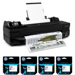 """HP DesignJet T120 24"""" Large-Format Printer and Extra 711 Ink Cartridge Set Kit"""