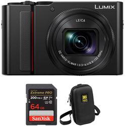 Panasonic Lumix DC-ZS200 Digital Camera with Accessory Kit (Black)