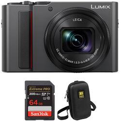 Panasonic Lumix DC-ZS200 Digital Camera with Accessory Kit (Silver)