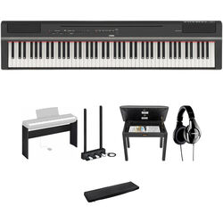 Yamaha P-125 88-Note Digital Piano and Home/Studio Deluxe Kit (Black)
