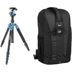 Prima Photo Big Travel Tripod (Blue) and Lowepro Flipside 300 Backpack (Black) Kit