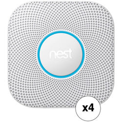 Nest Protect Wired Smoke and Carbon Monoxide Alarm (4-Pack, White, 2nd Generation)