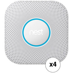 Nest Protect Battery-Powered Smoke and Carbon Monoxide Alarm (4-Pack, White, 2nd Generation)