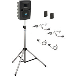 Anchor Audio LIB-BP2-BB Liberty Basic Package 2 - Portable Bluetooth PA System with AIR Transmitter, Two Bodypack Transmitters, and Speaker Stand (2 x Lavalier Mics, 2 x Headset Mics, 1.9 GHz)
