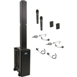 Anchor Audio BEA-QUAD-HHBB Beacon 2 Quad Package Portable Line Array Sound System with Bluetooth, AIR Transmitter, Two Wireless Handheld Microphone Transmitters, and Two Bodypack Transmitters (2 x Lavalier Mics, 2 x Headset Mics, 1.9 GHz)