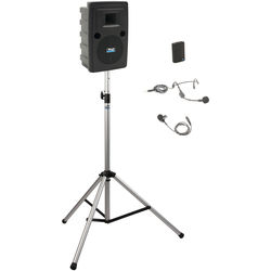 Anchor Audio LIB-BP1-B Liberty Basic Package 1 - Portable Bluetooth PA System with AIR Transmitter, Bodypack Transmitter, and Speaker Stand (1 x Lavalier Mic, 1 x Headset Mic, 1.9 GHz)
