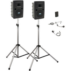 Anchor Audio LIB-DP1-AIR-B Liberty Deluxe AIR Package 1 Portable Bluetooth PA System with AIR Transmitter, Bodypack Transmitter, Wireless Companion Speaker, and Speaker Stands (1 x Lavalier Mic, 1 x Headset Mic, 1.9 GHz)