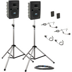 Anchor Audio LIB-DP2-BB Liberty Deluxe Package 2 Portable Bluetooth PA System with Two Bodypack Transmitters, Unpowered Companion Speaker, and Speaker Stands (2 x Lavalier Mics, 2 x Headset Mics, 1.9 GHz)
