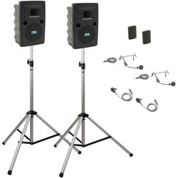 Anchor Audio LIB-DP2-AIR-BB Liberty Deluxe AIR Package 2 Portable Bluetooth PA System with AIR Transmitter, Two Bodypack Transmitters, Wireless Companion Speaker, and Speaker Stands (2 x Lavalier Mics, 2 x Headset Mics, 1.9 GHz)