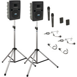 Anchor Audio LIB-DP4-AIR-HHBB Liberty Deluxe AIR Package 4 - Portable Bluetooth PA System with AIR Transmitter, Two Bodypack & Two Wireless Handheld Microphone Transmitters, Wireless Companion Speaker, and Speaker Stands (2 x Lavalier Mics, 2 x Headset Mics, 1.9 GHz)