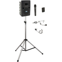 Anchor Audio LIB-BP2-HB Liberty Basic Package 2 - Portable Bluetooth PA System with AIR Transmitter, Bodypack & Wireless Handheld Microphone Transmitters, and Speaker Stand (1 x Lavalier Mic, 1 x Headset Mic, 1.9 GHz)