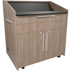 """Middle Atlantic L5 Lectern Turret Top (43 x 31 x 39"""" Sota Style, High-Pressure Laminate, 5th Ave Elm, 2 Drawers)"""