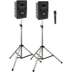 Anchor Audio LIB-DP1-AIR-H Liberty Deluxe AIR Package 1 Portable Bluetooth PA System with AIR Transmitter, Wireless Handheld Microphone Transmitter, Wireless Companion Speaker, and Speaker Stands (1.9 GHz)