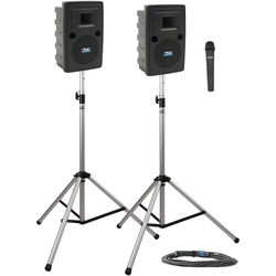 Anchor Audio LIB-DP1-H Liberty Deluxe Package 1 Portable Bluetooth PA System with Handheld Wireless Microphone Transmitter, Unpowered Companion Speaker, and Speaker Stands (1.9 GHz)