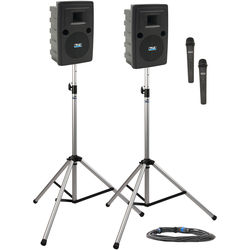 Anchor Audio LIB-DP2-HH Liberty Deluxe Package 2 Portable Bluetooth PA System with Two Handheld Wireless Microphone Transmitters, Unpowered Companion Speaker, and Speaker Stands (1.9 GHz)