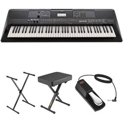 Yamaha PSR-EW410 Portable Keyboard Value Kit with Stand, Bench, Pedal, and Headphones