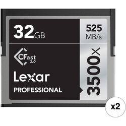 Lexar 32GB Professional 3500x CFast 2.0 Memory Card (2-Pack)