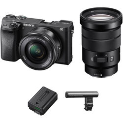 Sony Alpha a6300 Mirrorless Digital Camera with 16-50mm and 18-105mm Lenses and Video Accessory Kit