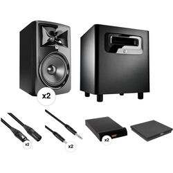 JBL 308P MkII - Studio Monitor Kit with Powered Subwoofer, Cables, and Isolation Pads