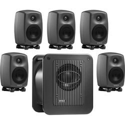 """Genelec 8020D ESPRESSO 4"""" Active 5.1 Monitoring System with 8"""" Subwoofer (Producer Finish)"""