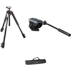 Manfrotto MVH500AH Flat Base Fluid Head, MT190XPRO3 Tripod Legs, Padded Case Kit
