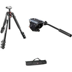 Manfrotto MVH500AH Flat Base Fluid Head, MT190XPRO4 Tripod Legs, Padded Case Kit
