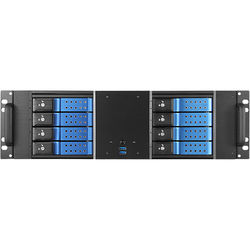 """iStarUSA D-380HN 3U Compact 8 x 3.5"""" HDD Bay Trayless Hotswap microATX Chassis (Blue HDD Handles)"""