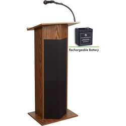 Oklahoma Sound Power Plus Lectern and Rechargeable Battery (Medium Oak)