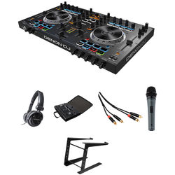 Denon DJ MC4000 Serato DJ Controller Kit with Headphones, Case, Cables, Mic, and Stand