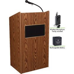 Oklahoma Sound The Aristocrat Sound Lectern with Rechargeable Battery & Wireless Tie Clip Lavalier Mic (Medium Oak)